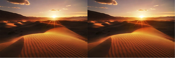 After adding the Soft Light layer, the sun has a nice bit of glow. Before (left) and after (right)