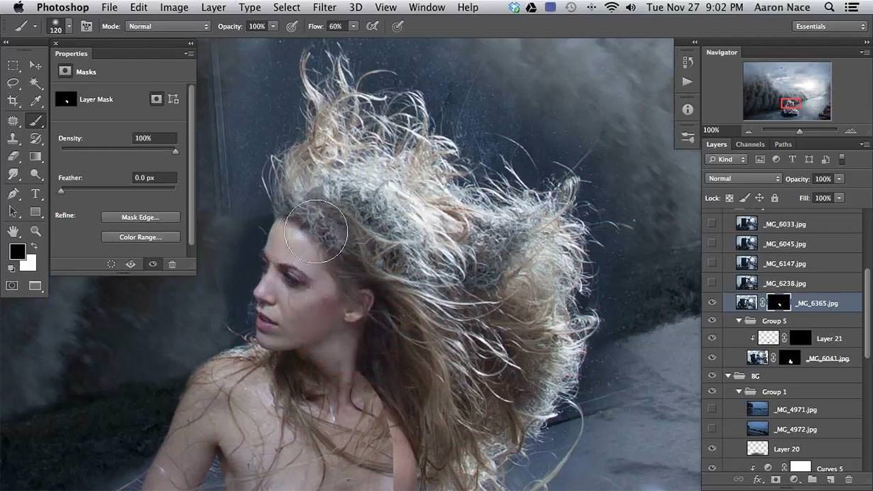 Learn how to merge several photos together into one image to create the perfect head of hair. In this case we wanted it to be wild and whipped from the waves, but you could use these same techniques on a glamour portrait.