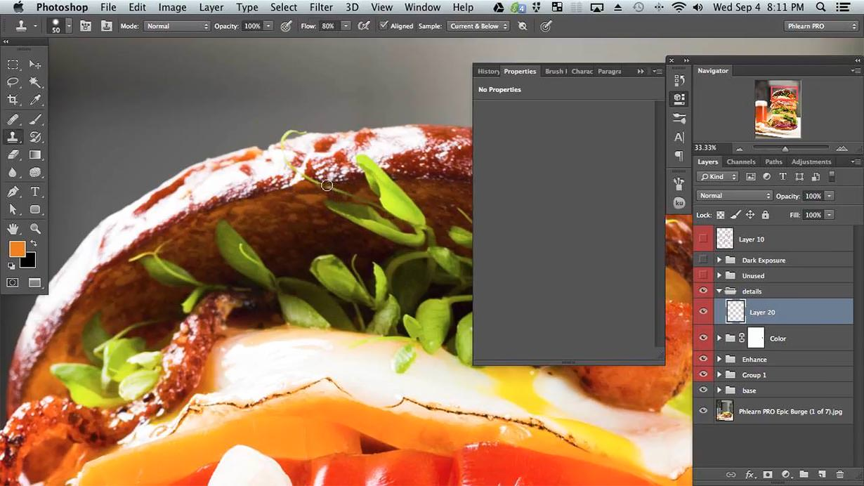 "Once the burger has been built up in Photoshop we work on the details that really make a difference. You will learn how to identify all of the ""problem areas"" as well as how to fix them. Often times the beauty is in the small details."