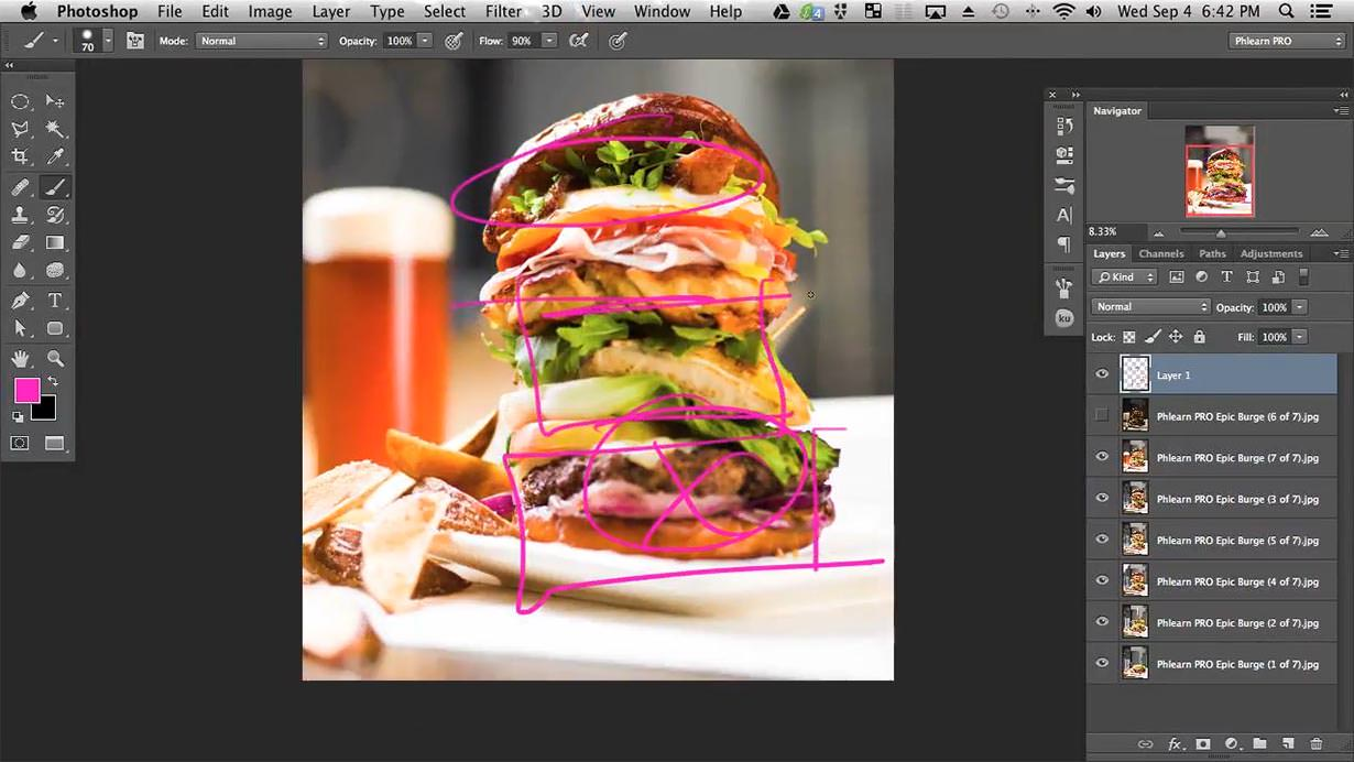 "For this shoot we had so many different ingredients stacked together that gravity really started to effect the burger. It is important to do what you can ""in camera"" to make your subject look as good as possible but you can't exactly eliminate gravity. That is where Photoshop comes in.In this tutorial you will learn how to transform the burger so that it looks as good as possible. These same techniques can be used with people as well!"