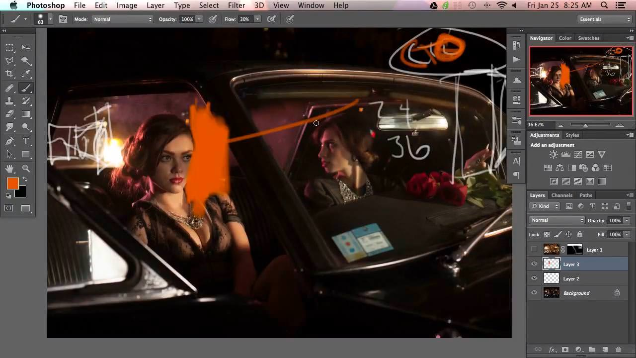 When shooting in a car there are a lot of things that you have to take into account. One of the big ones is the color of the lights around a car. Tail lights will be colored different than headlights, and the directionality of the lights is important in maintaining fidelity. In this Photoshop tutorial we cover how to bring out natural color of those lights as well as bring in the appropriate colors to balance them out.