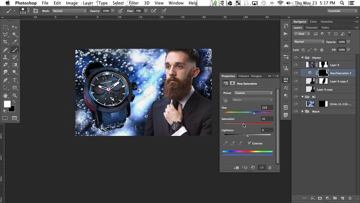 Although the focus of this image is on the watch, we need to make sure that our person looks great as well.You will learn retouching, dodging & burning, sharpening, coloring, toning and more. All of these techniques can be applied on any portrait you take.
