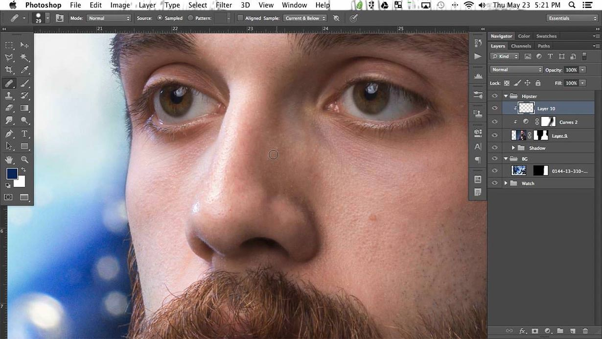 Learn our unique method of dodging and burning as we sculpt different areas of the subject including his awesome beard. You can see here how much more depth the image has after this simple technique.