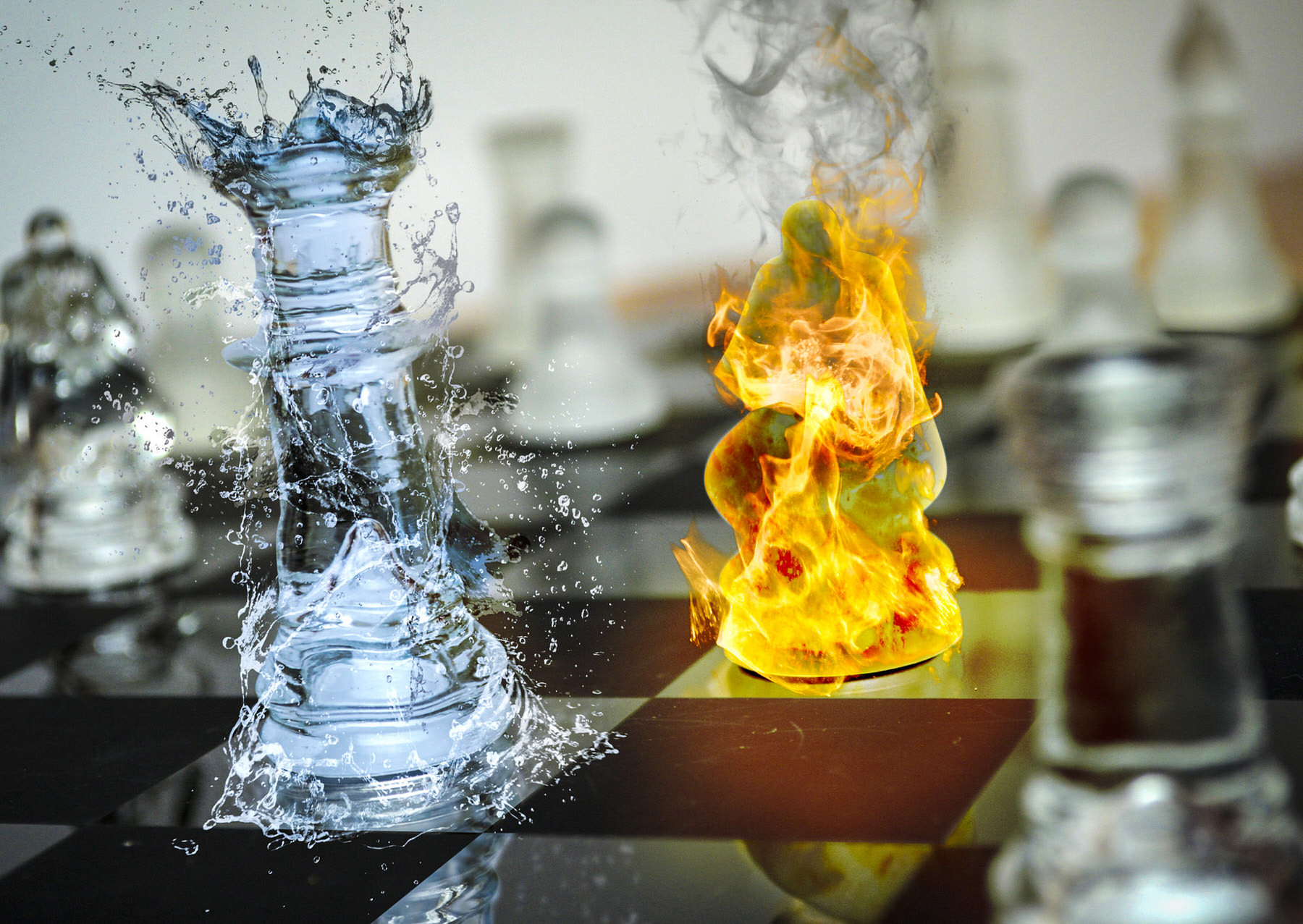 Chess Set Fire and Water Effects