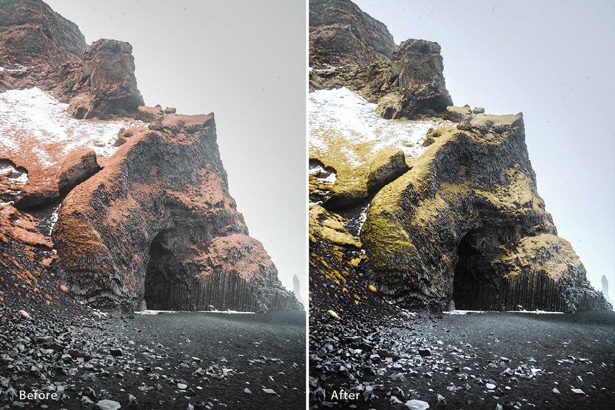 dodge burn landscapes before and after