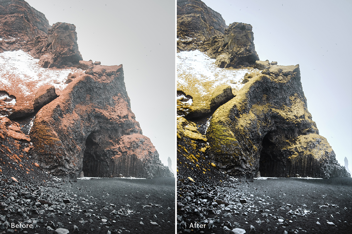 dodge and burn landscapes before and after