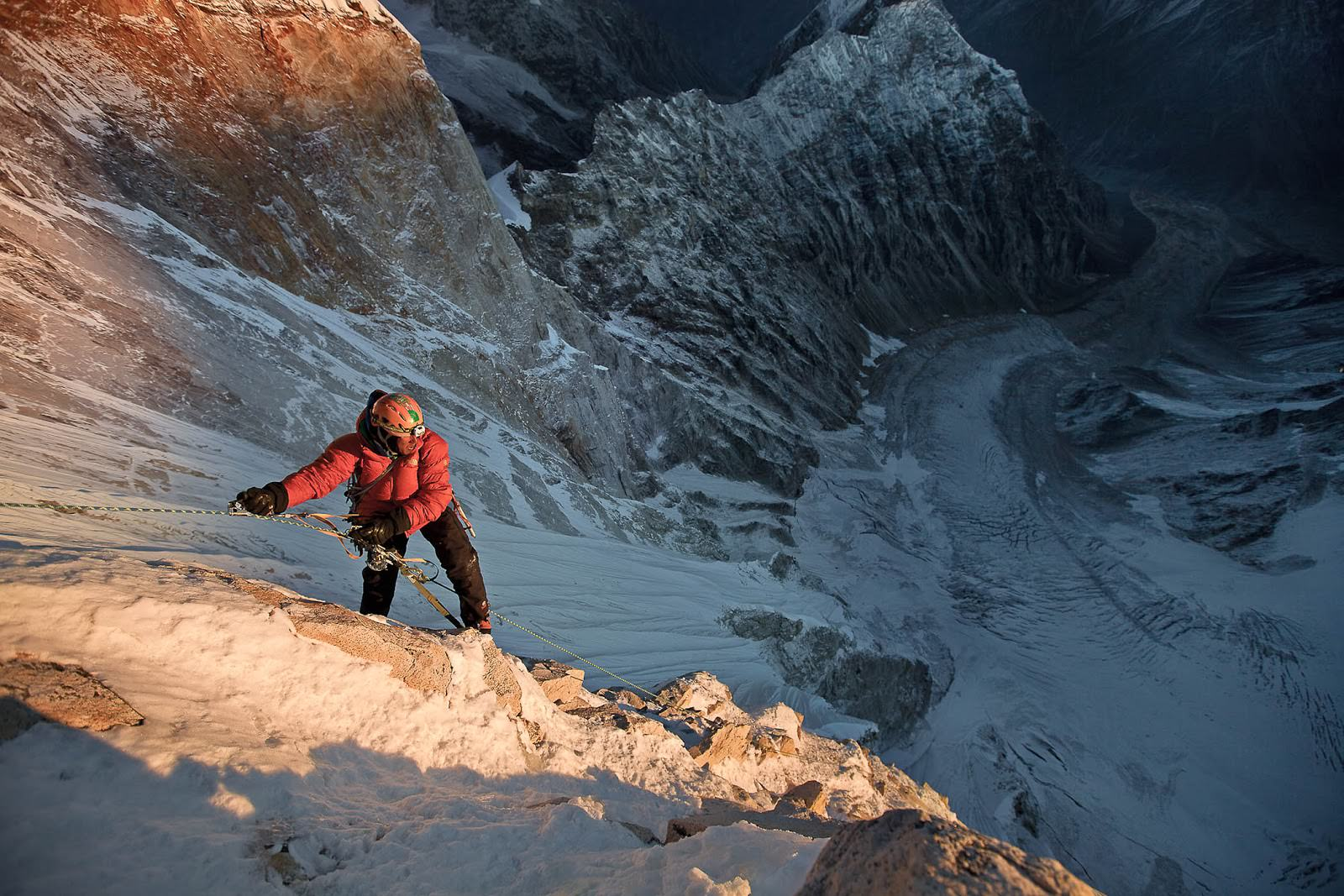 Jimmy Chin at first light on the 11th day of climbing