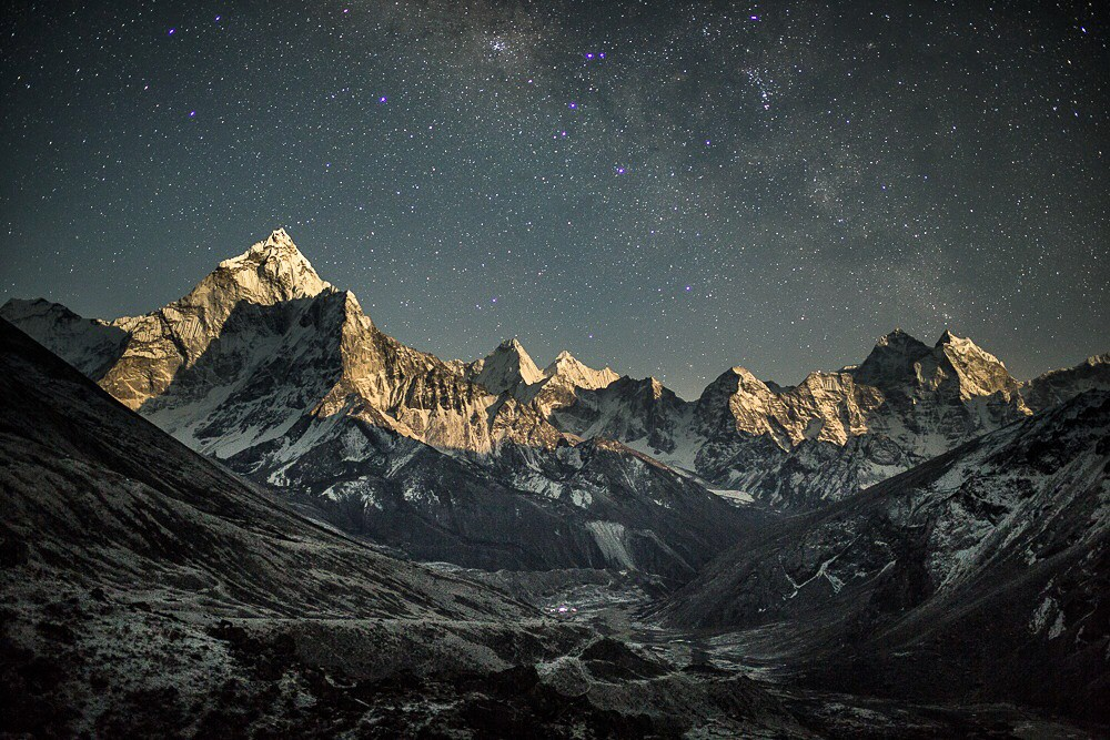 Night Sky Over Mountains Photo
