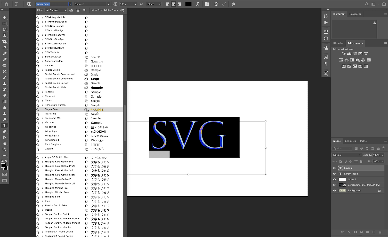 OpenType SVG Fonts Photoshop CC 2017