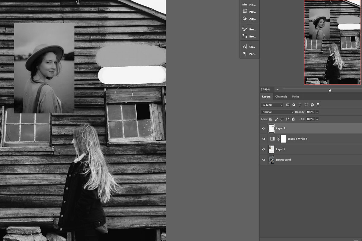 match colors in photoshop black and white