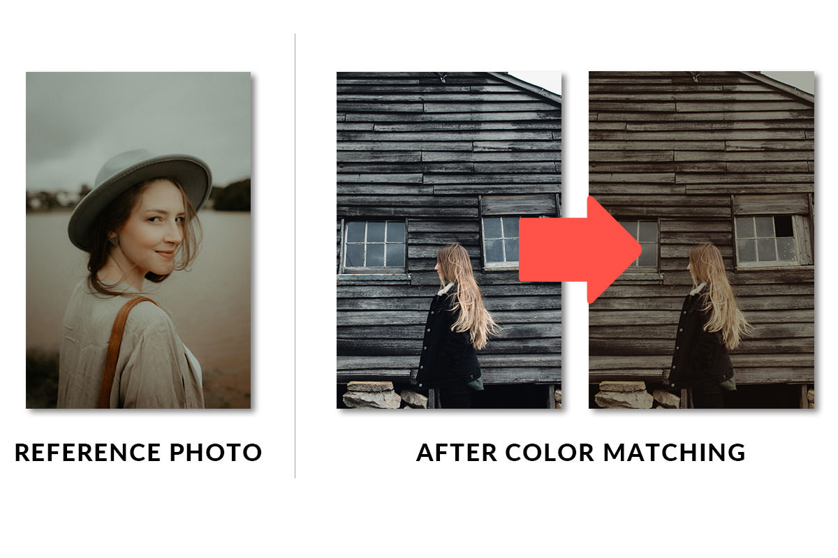color match two photos photoshop example