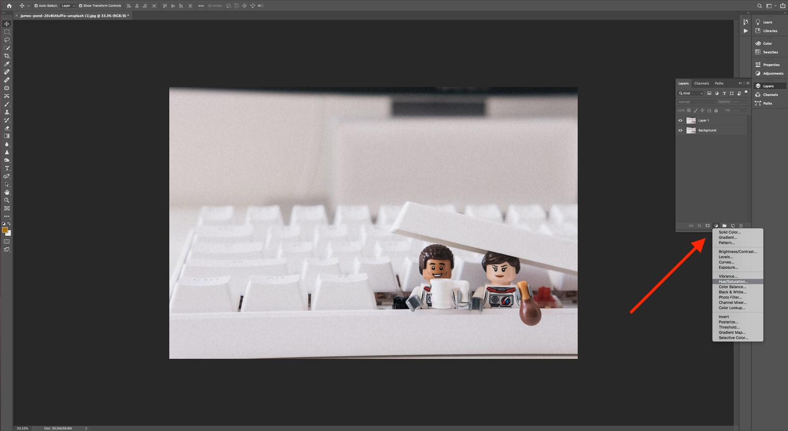 New Adjustment Layer Photoshop