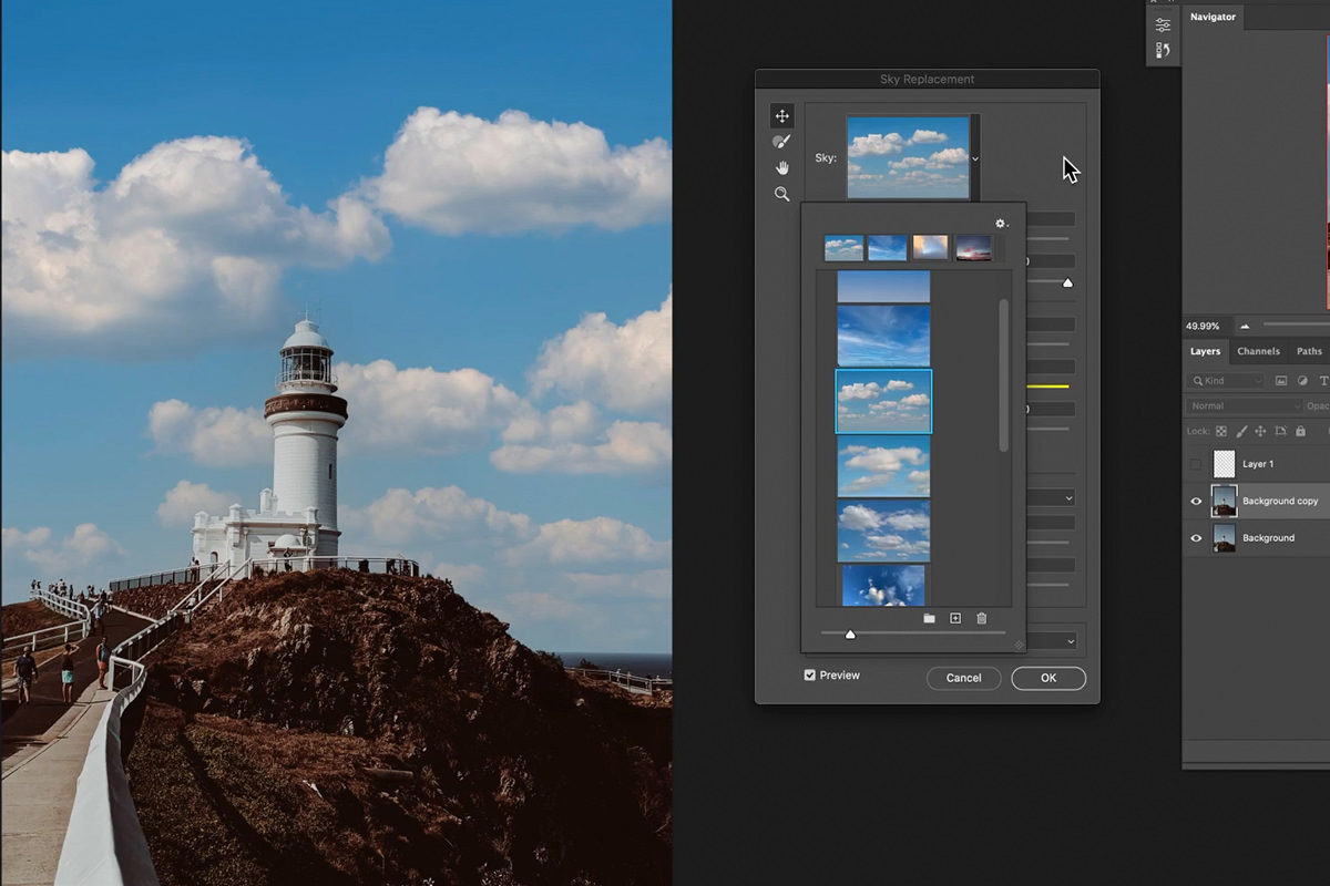 sky replacement tool photoshop