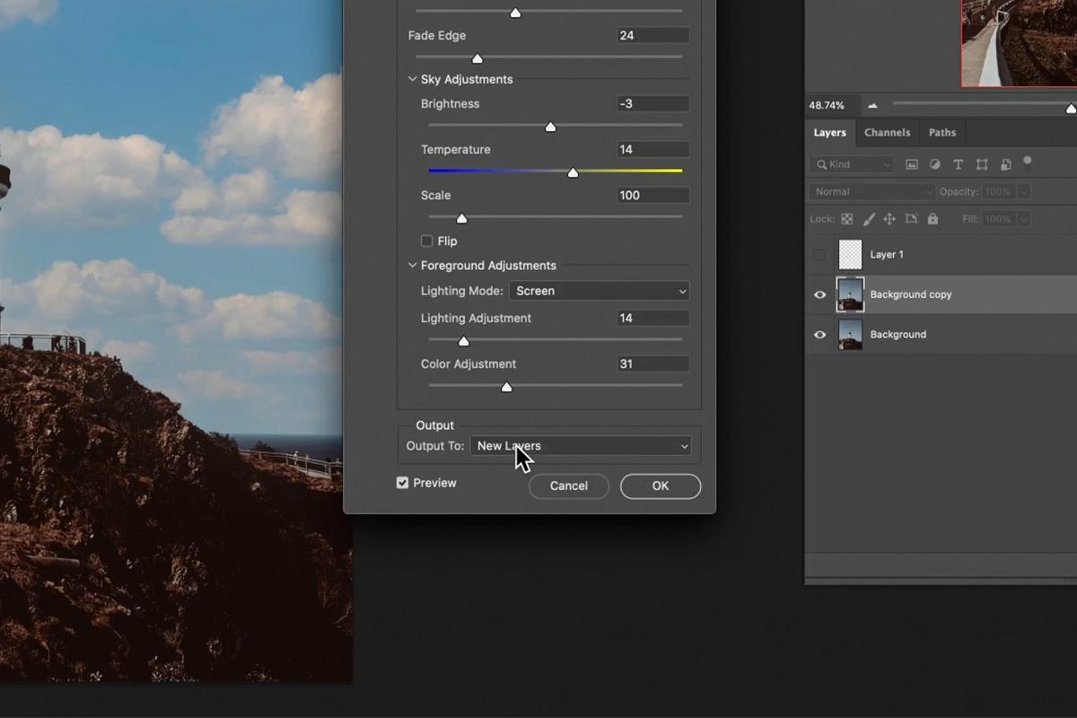 công cụ thay thế bầu trời photoshop