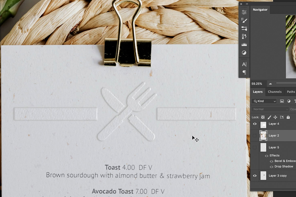 embossed effect in photoshop