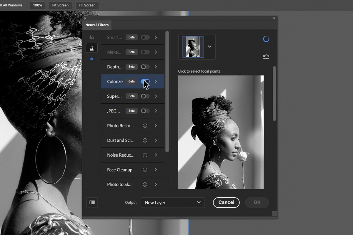colorize neural filter photoshop