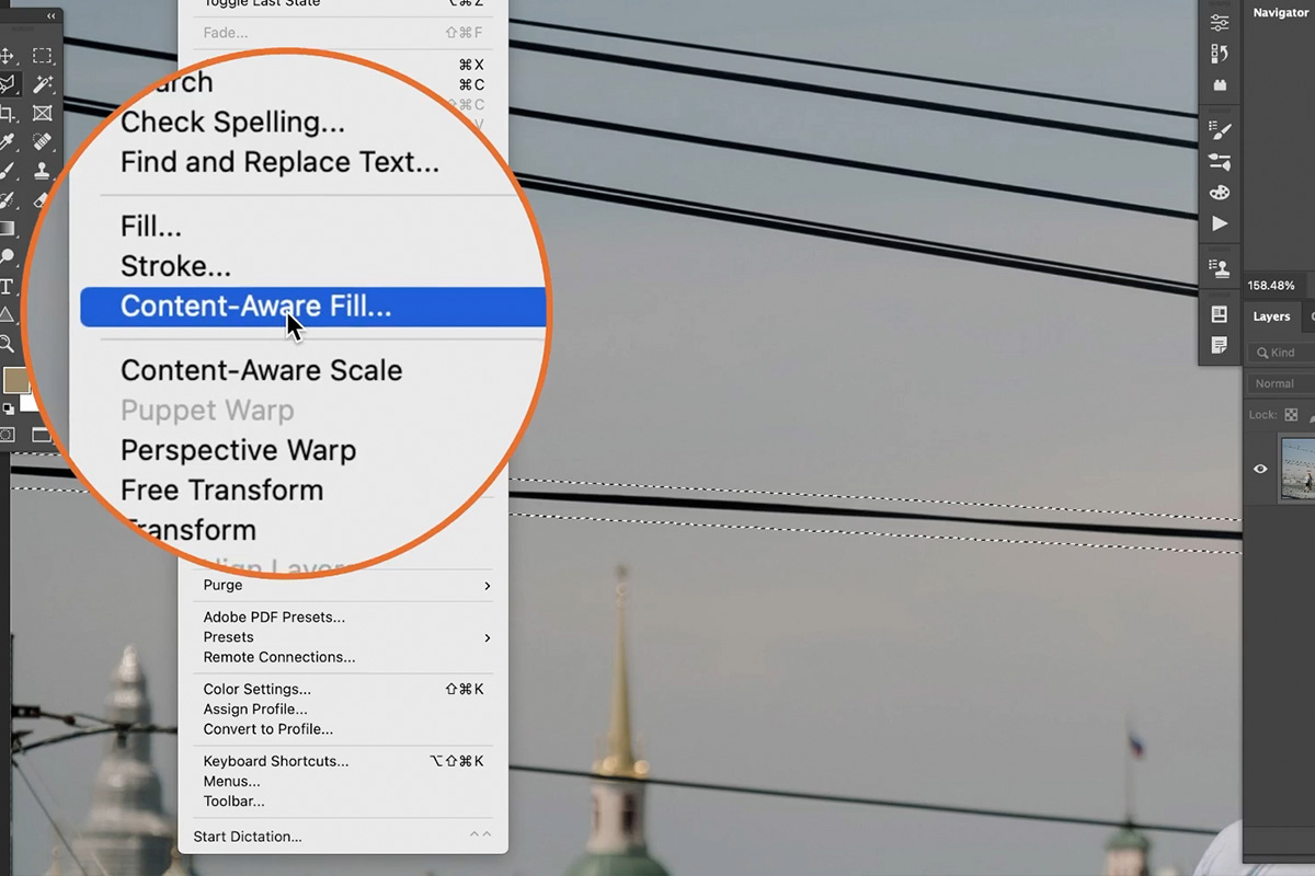 remove power lines from photo in photoshop