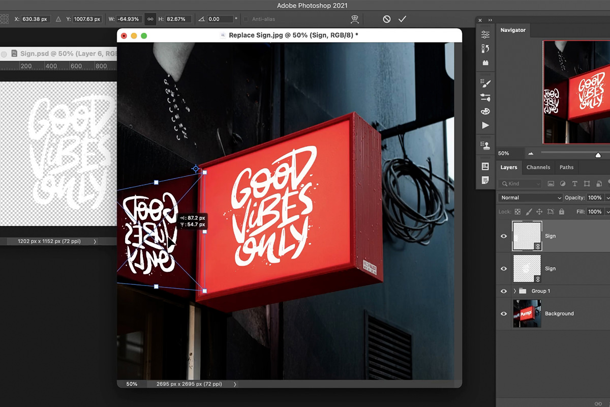 replace sign in photoshop
